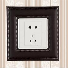Europe Leather Switch Panel Wall Sticker Creative Self-adhesive Switch Wallpaper Light Switch Decorative Socket Protective Cover
