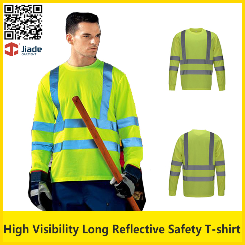Hi vis  fluorescent yellow security work shirt quick dry birdeye breathable safety reflective T-shirt with reflective stripes<br>