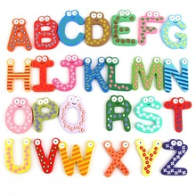 Free shipping factory price refrigerator sticker 26English letters, digital fridge magnets, Early education wooden baby toy(China)