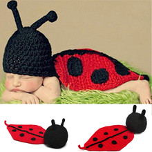 Handmade Newborn Infant baby Boy Girl Animal Beanie Cap photography props Headdress Flower ladybug knitted hat Cashmere 0-6Month