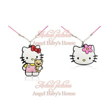 2PCS Hello Kitty Hot Cartoon PVC Chains Pendant/Charms+51cm Necklaces Girls' Accessories Fit Rope Chain Chokers Kid's Gift(China)