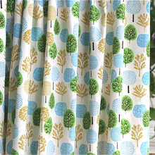 100*150cm Country Style Trees Print Linen Cotton Fabric For Curtains