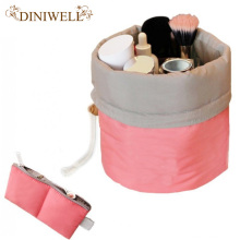 DINIWELL Nylon  Barrel Shaped Travel Toiletry Cosmetic Bag Makeup Organizer Storage  Bag For Drawstring Elegant Drum
