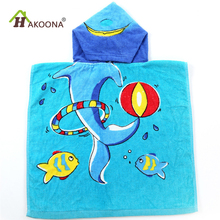 HAKOONA Animal Printed Blue Children Hooded Bath Towels Microfiber Swimming Towels 50*100cm 5- 12 Years Old Kids  Poncho Gifts