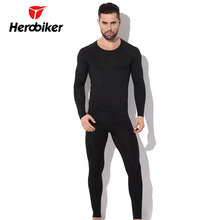 Herobiker Men's Fleece Thermal Motorcycle Underwear Moto Bicycle Skiing Winter Warm Base Layers Tight Long Johns Top & Pants Set