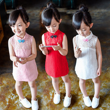 Summer dress Girls Chinese style solid Lace vest dress cheongsam girls clothes kinder Surprise