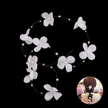 Beautiful Korean Trendy Hair Accessories For Bride Wedding Headband Pearls Flower Tiaras Women Longe Hair Band Headwear Jewelry