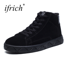 Ifrich New Trend Boots Fur Men Autumn Winter Shoes Men Luxury Brand Black Gray Sneakers Male Lace Up Designer Platform Sneakers(China)