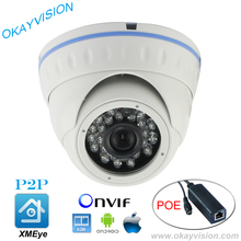 HI3518C ONVIF Aptina 1.3MP CMOS IR Night Vision H.264 HD 960P IP P2P DC48V POE or DC12V dome cameras XMEye APP for Smart Phone