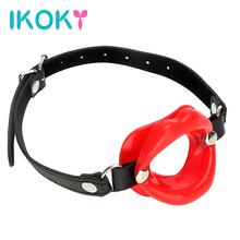 Buy IKOKY Oral Fixation Open Mouth Gag Rubber Lips Sex Shop Adult Product SM Bondage Sex Toys Couples Leather O Ring Fetish
