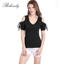 2017 Women New Summer Casual Short Sleeve V-Neck Off Shoulder Lace Up Basic Female T-Shirts Plus Size Ladies Sexy Tops Tee