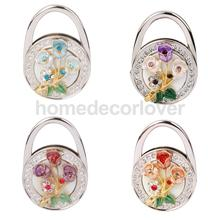 Rose Flower Rhinestone Folding Handbag Tote Purse Hanger Hook Holder Multicolor