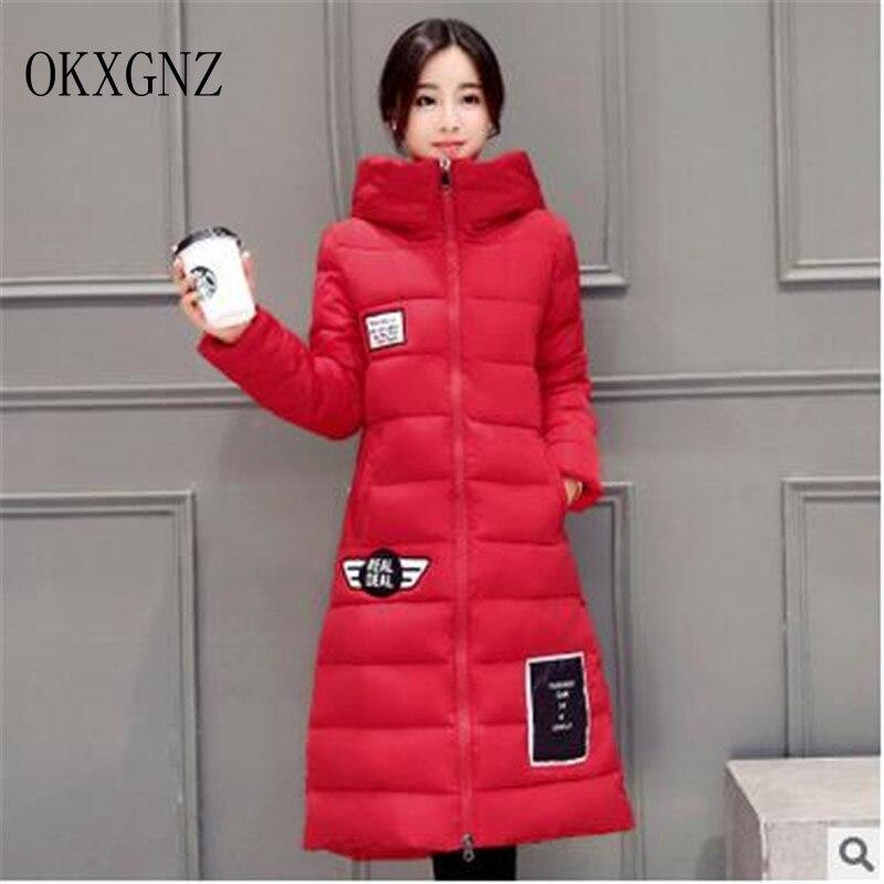 OKXGNZ New Korean Cotton Coat 2017Fashion Solid Color Big yards Winter Coat to the knee Medium Long  Coat Women Clothes QQ241Îäåæäà è àêñåññóàðû<br><br>