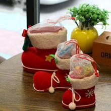 Christmas Dress Christmas Stocking Boot Large Cute Santa Claus Christmas Gift Candy Bags Indoor Xmas Tree Decor New Year Gifts