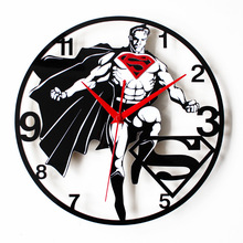 Superman DIY home decor  large digital wall clocks modern design,decorative mirror wall clock watches vintage