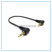 20cm DC 3.5mm 3 Pole 90 degree Male to Male M/M Audio Adapter Cable for cell phone MP3 Speaker  Free Shipping