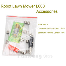 Original Robot Lawn Mower L600 Accessories, Fuse 5 pcs, Connector for Virtual Line 1 set, Battery for Remote Control 1 pc