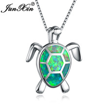 JUNXIN New Fashion Lovely Green Fire Opal Turtle Pendant Necklaces For Women 925 Sterling Silver Filled Animal Wedding Necklace(China)