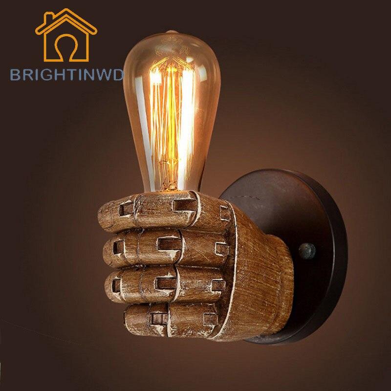 BRIGHTINWD 85-265V Fist Wall Lamp Retro Edison Lamp Bulb Holder With 40W G80 Incandescent Carbon Filament Bulb Decorative Light<br>