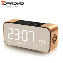 TOPROAD 10W LCD Portable Altavoz Bluetooth Speaker Stereo Wireless Computer Speakers MIC TF FM Time Alarm Clock Subwoofer Column