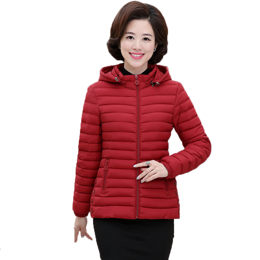 WAEOLSA Women Hooded Puffer Jacket Quilted Coat Middle Aged Woman Lightweight Padded Outerwear Red Green Hood Puff Jackets LadyÎäåæäà è àêñåññóàðû<br><br>