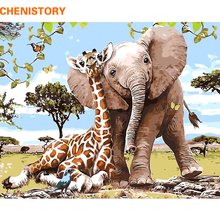 CHENISTORY Frameless Elephant Giraff DIY Painting By Numbers Modern Wall Art Picture Paint By Numbers Unque Gift For Home Decor(China)