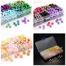 6/8mm 1Box Mixed Style Round Glass Pearl Loose Beads Mixed Color, 6mm-about 600pcs/box; 8mm-about 250pcs/box(China)