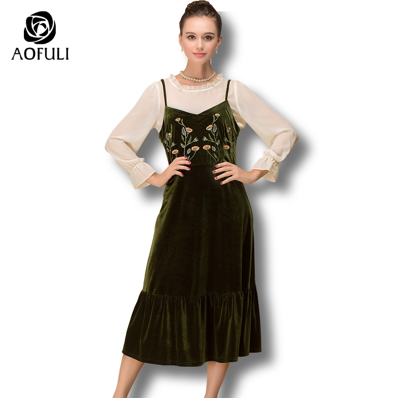 AOFULI S- 4xl 5xl Sicily Style Floral Embroidery Dress Suit 2 Piece Camisole Calf Length Dress Outfit Spring Casual Twinset 6313