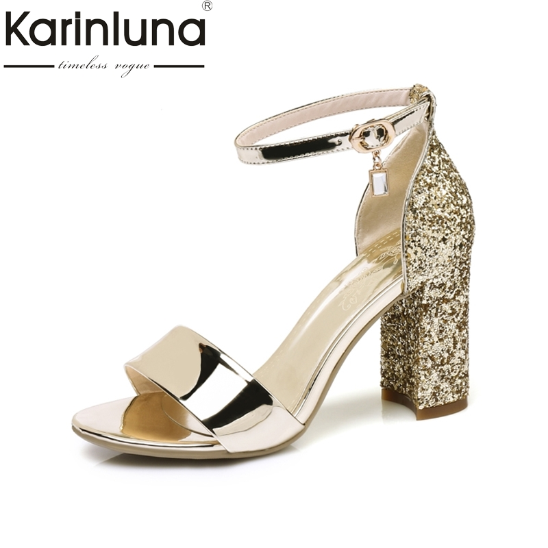 KARINLUNA 2017 big size 32-43 square high heels bling ankle strap crystal women sandals office lady party shoes woman footwear<br>
