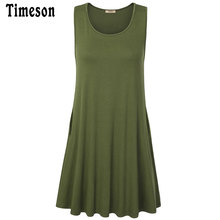 Timeson 2017 Womens Summer Casual Loose Sleeveless Pocket Swing Tunic Shirt Dress Brand Design Female Solid A Line Tank Dress