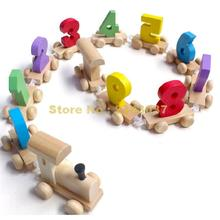 Wooden Pull & Drag Digital Small Train Vehicle Blocks Infant Baby Child Montessori Educational Wooden Toy