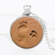 Red Women DOG LOVER NECKLACE Dog Paw Pendant Paw Print Jewelry Paw and Footprint Pendant Gift for Dog Lover Best Gift(China)