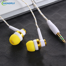 HANGRUI Braided Rope Wire Cloth Rope Earphone Noise Isolating Earplug Wiring Subwoofer Earphone For iphone xiaomi phone MP3 MP4