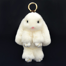 Fluffy Rex Bunny Keychain Rabbit Fur Pompoms Keyring Women Trinket Hare Car Key Ring Holder Dolls Bag Charm Jewelry Gift