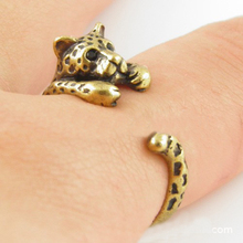 1PC Gold Fashion Gothic Punk Unisex Girl Women Mens Cute leopard Ring Antique Vintage Animal Gift Puppy Wrap Adjustable