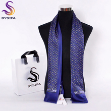 [BYSIFA] Brand Men Pure Silk Scarf Businessmen Long Scarves Spring Autumn All-Match 100% Silk Neck Scarf Winter Marmth Scarves