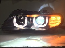 Free shipping for car LED Head Lamp for BMW for E46 Headlights 318 320 325 LED Headlight angel eyes DRL and Xenon lamp