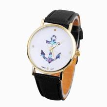 SmileOMG Hot Marketing Women's Ladies Vintage Flower Watch Anchor Leather Casual Quartz Watch Muticolor Free Shipping,Aug 16(China)
