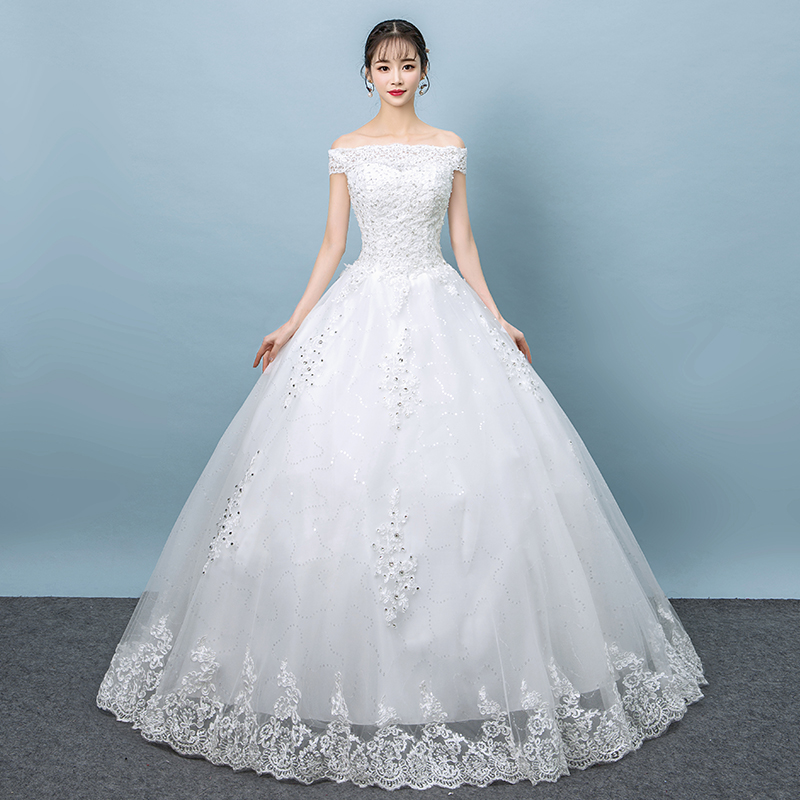 Wedding Dress 2019 New Arrival Short Sleeve Embroidery Lace Boat Neck Off the Shoulder Princess Gowns Vestidos De Novia
