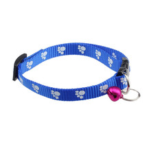 D3 High Cost-Effective  Nylon Adjustable  Footprints Puppy Collar Dog Pet Collars With Bells 20-22