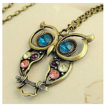 x15 2016 Retro Vintage Color Necklace Block Drill Hollowing Carved Cute Owl Pendant Necklace Jewelry Gift(China)
