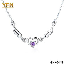 GNX0448 Collares 2015 Genuine 925 Sterling Silver Heart Pendant Necklace Amethyst Jewelry Angel Wings Necklace For Women