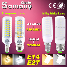 High Bright Led Bulb E27 E14 Corn Light 110V 220V 380-1250LM Transparent Milky Lampshade LED Spotlight Chandelier Candle Bulbs