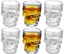 Free Shipping 6PCS 450ml Skull Shot Glasses, Set of 6, 1.5 oz, Clear(China)