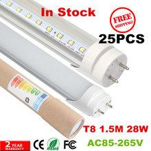 25W t8 led tube 1500mm 2835SMD high luminous flux 25pcs free shipping(China)