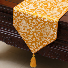 Ethnic Jacquard Dragon Table Runner Protective Mats Chinese style High End Luxury Damask Fabric Coffee Table Cloth Bed Runners