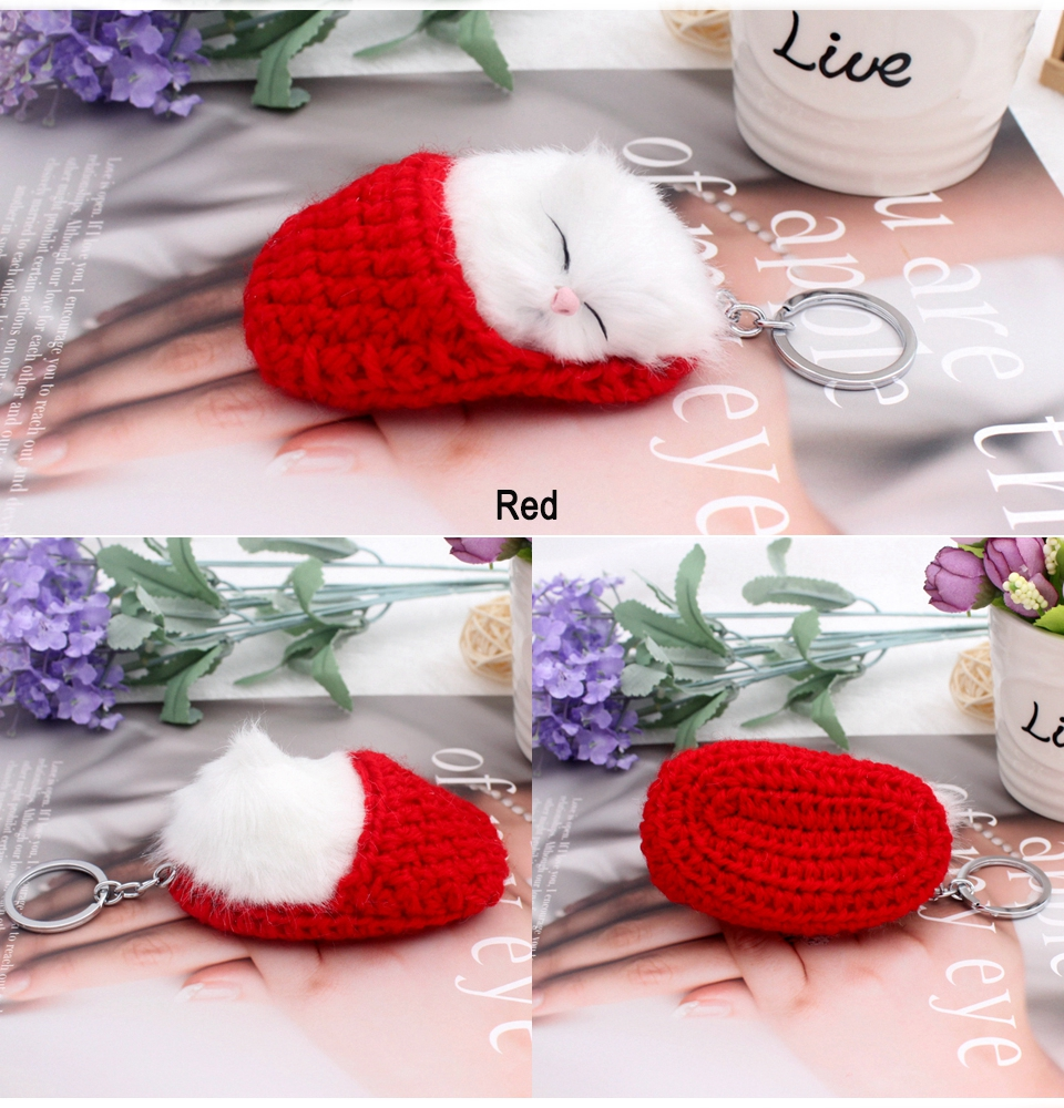 sleeping cat keychain 3
