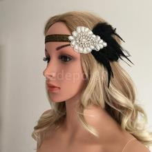 1920s Great Gatsby Black Feather Pearls Fascinator Headpiece Flapper Headband Crystal Elastic Band Bridal Fancy Dress Accessory