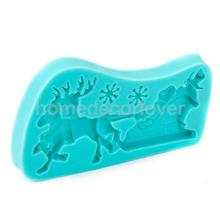 Christmas Santa Sleigh Silicone Fondant Baking Mould Cupcake Topper(China)