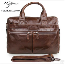 100% leather bag, head layer, cowhide men's bag, portable shoulder bag, business briefcase 7122